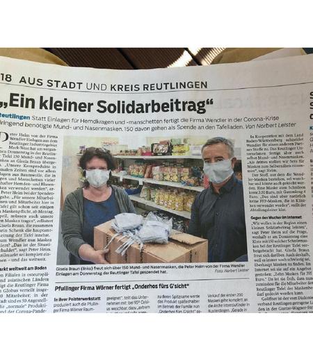 Wendler Donates Face Masks Wendler Einlagen Gmbh Co Kg